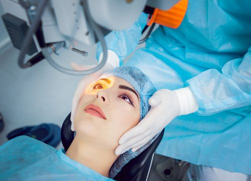 A cataract surgery being performed.